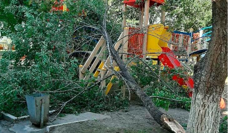 деревья обрушились на детскую площадку