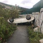 Авто упало на крышу в результате мощного ДТП