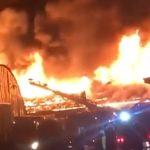Площадь – 1200 метров: мощный пожар на складе сняли на видео