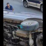 «Ну все, теперь район колом»: машина упала с подпорной стены во Владивостоке