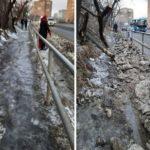 «Само пройдёт»: месиво и грязь на тротуаре доставляют неудобства