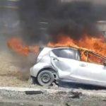 «Парень окровавленный, столб погнутый»: машина сгорела недалеко от АЗС